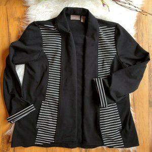 Chicos Striped Open Front Blazer Knit Jacket 1